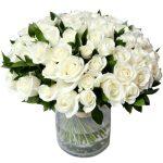 50 rose bianche gambo medio