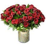 50 rose rosse gambo medio